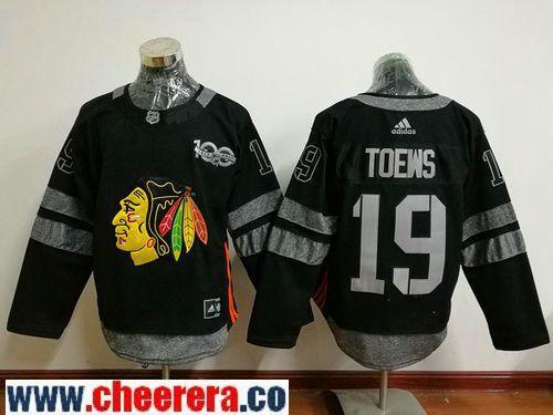 Men's Chicago Blackhawks #19 Jonathan Toews Black 100th Anniversary  Stitched NHL 2017 adidas Hockey Jersey