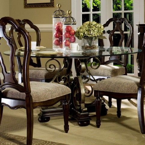 Wellingsley 60 Round Glass Top Single Pedestal Dining Table