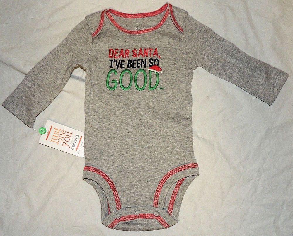 9bd8b6e06ff5 New Baby Carters First Christmas Outfit Kiss Dear Santa Good Sizes Newborn # Carters
