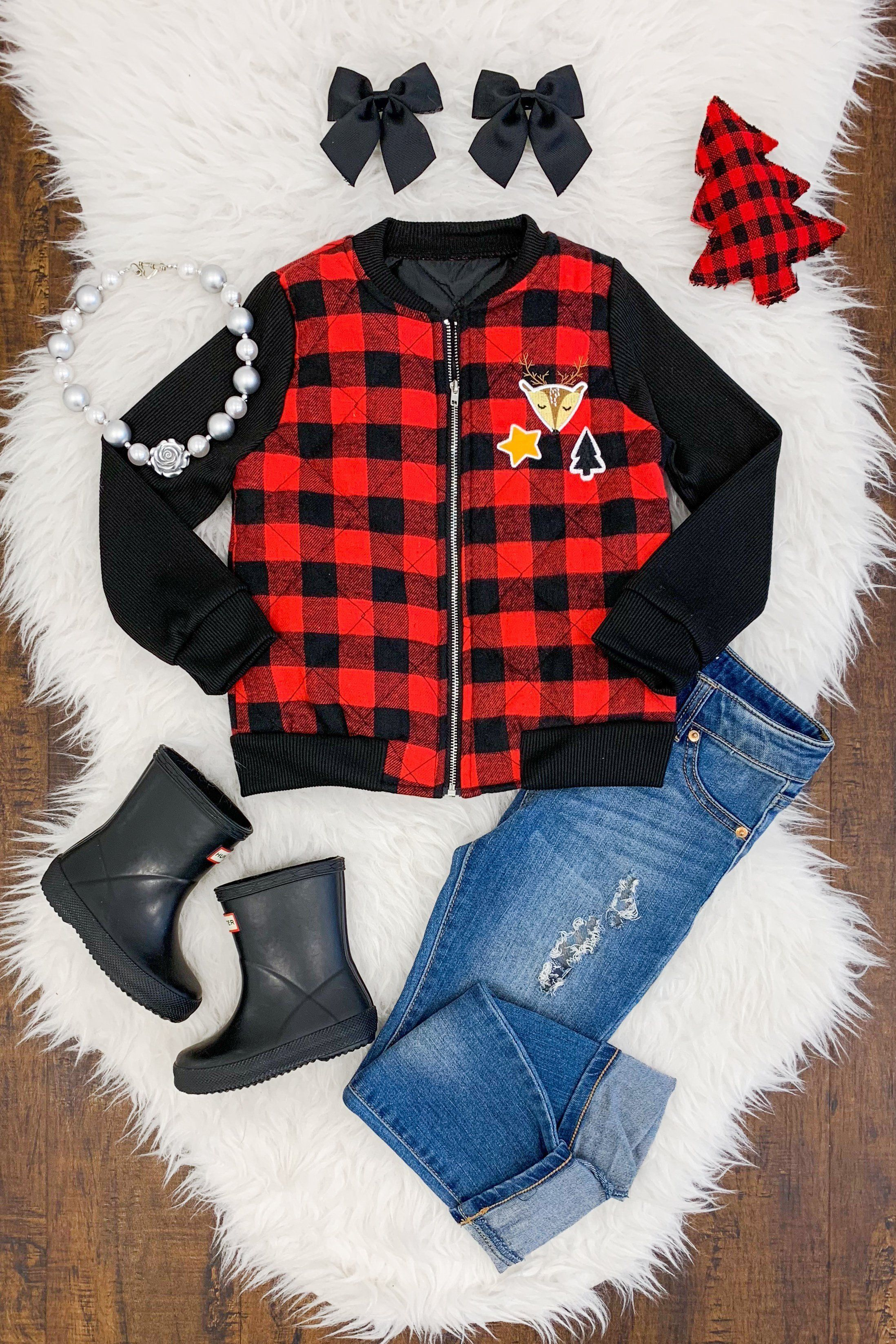 Buffalo plaid quilted bomber jacket with patches kids