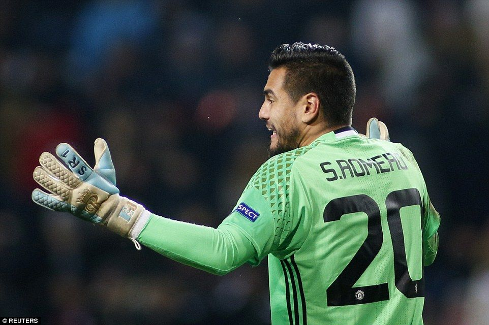 Sergio Romero, who started between the sticks for United in Ukraine, delivers instructions to his team-mates during first-half