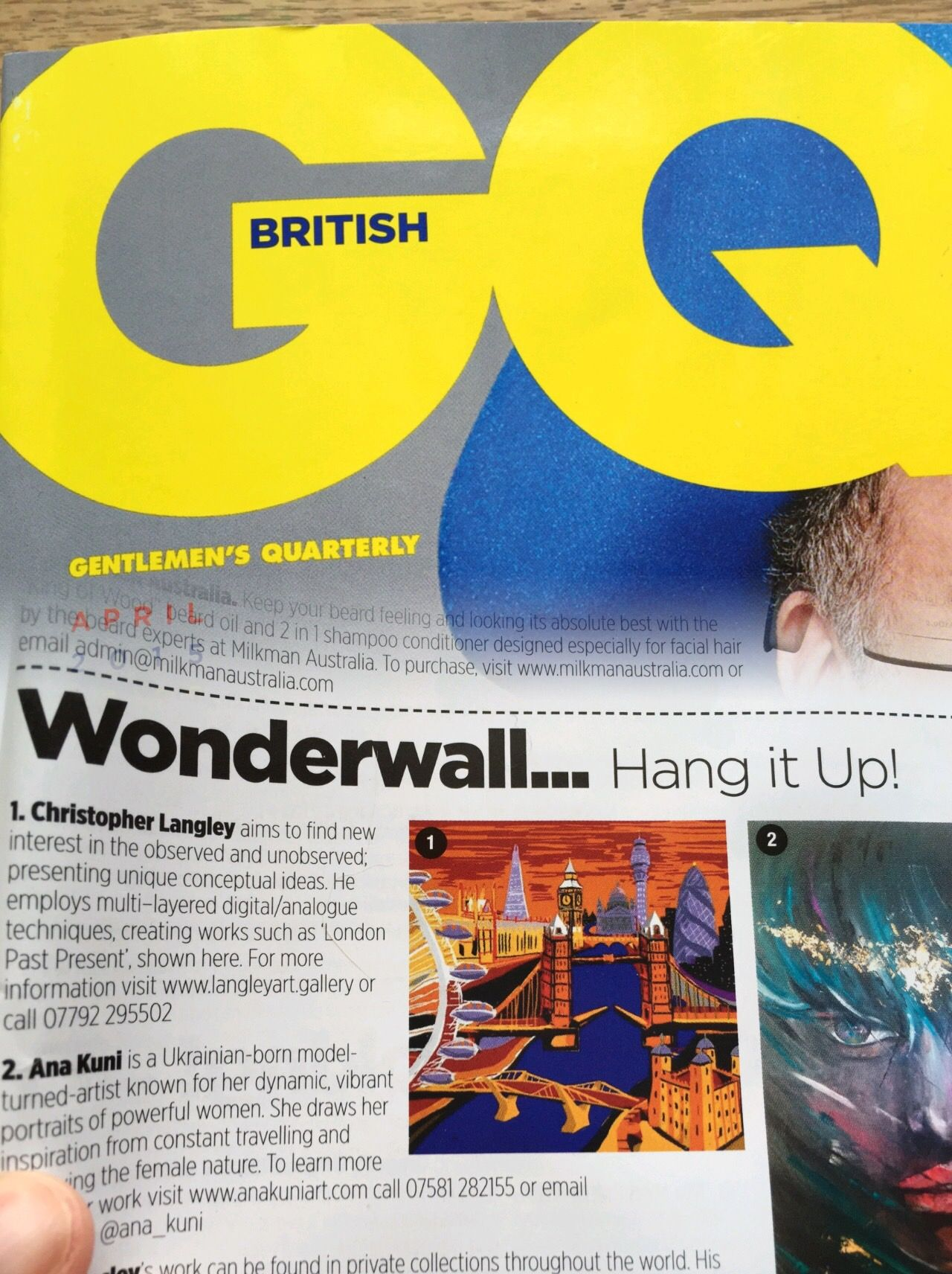 The work London Past Present has been featured in April 2015 edition of GQ Magazine.