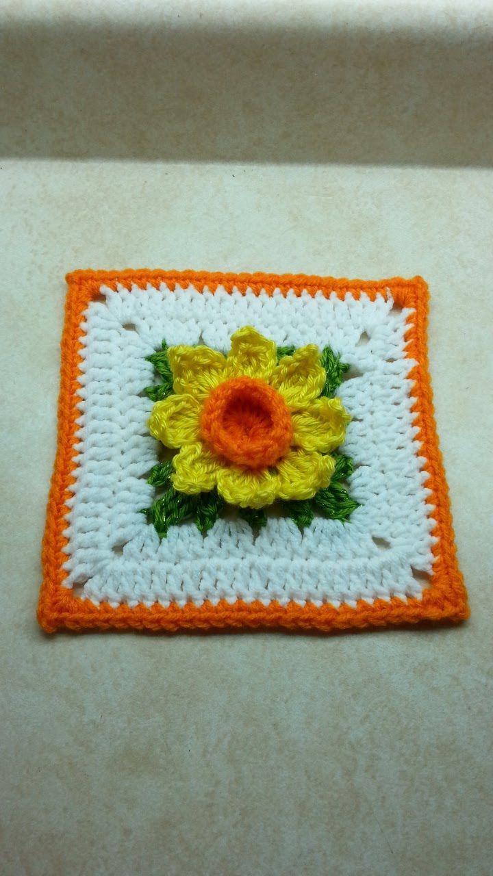 Crochê Abrótea da Avó Quadrado. / Crochet Daffodil Square Grandmother.