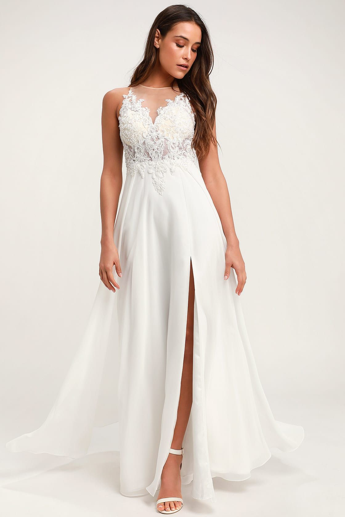 bc80697c8f Lulus | Moonlight Lover White Beaded Maxi Dress | Size 2 | 100 ...