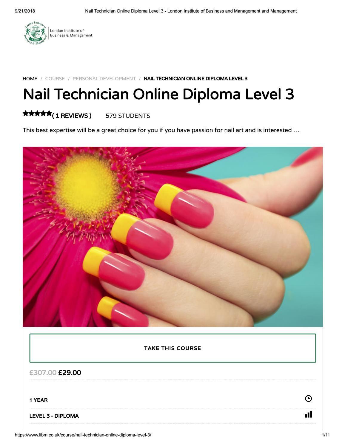 Nail Technician Online Diploma Level 3 LIBM Nail