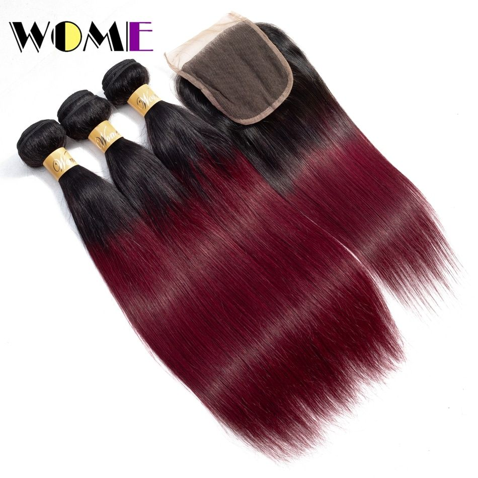 Wome Hair Burgundy Brazilian Straight Hair 3 Bundles With Closure Ombre Human Hair Bundles With Lace C Red Hair Extensions Weave Hairstyles Straight Hairstyles