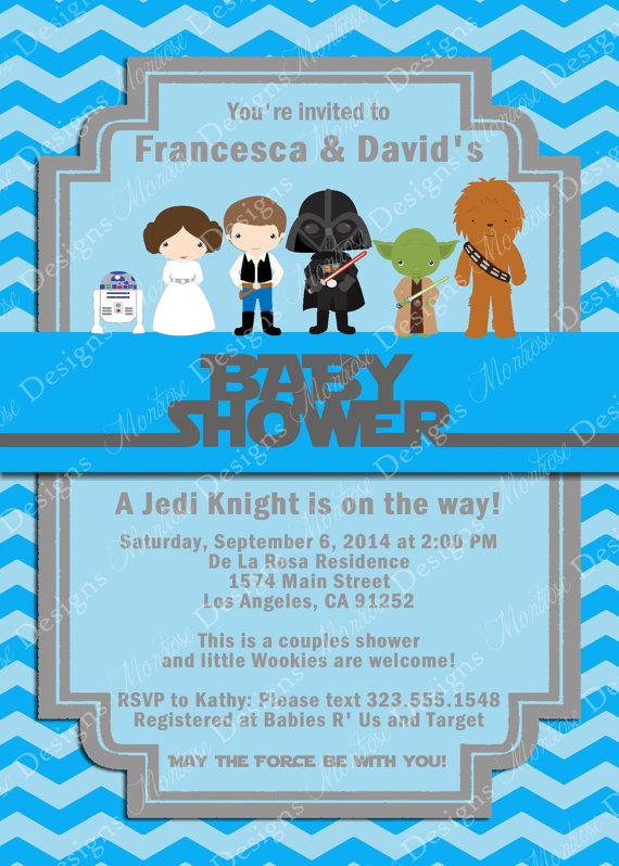 Blue Chevron Star Wars Baby Shower Invitation is a fun and unique way to celebrate the joyous birth of your new baby with your friends and