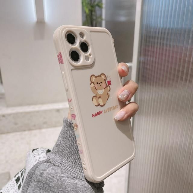 Cute Case for Iphone 11 Pro Max 7 8 Plus Xs Max X Xr 12 Mini Silicone Cute Flag Bead Cartoon Phone Case Cover Capa Couple Shell phone Case & Covers  - for iphone 11PRO / 1