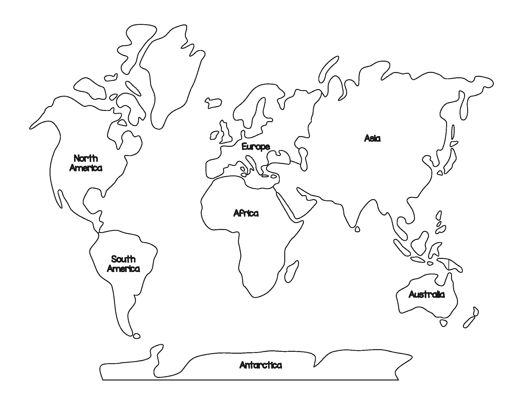Montessori World Map and Continents  World map coloring page