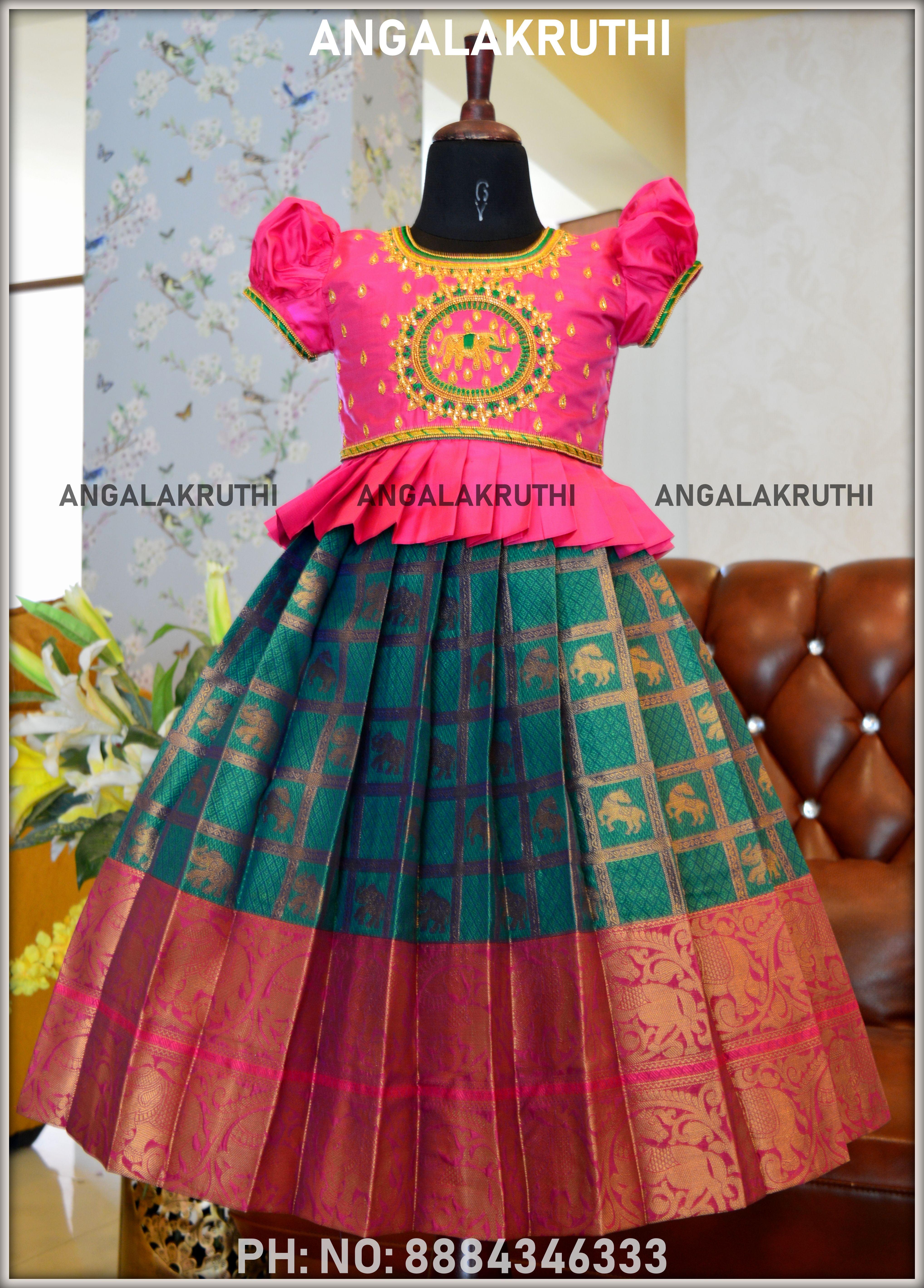 Green And Pink Pattu Pavada For Girls By Angalakruthi Kids Blouse Designs Kids Designer Dresses Dresses Kids Girl