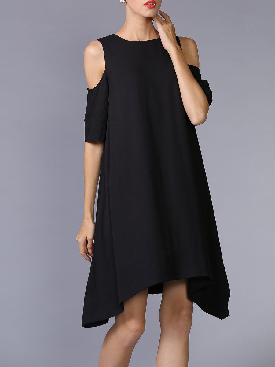 Shop Midi Dresses - Black Asymmetrical Cutout Crew Neck Half Sleeve Midi Dress online. Discover unique designers fashion at StyleWe.com.