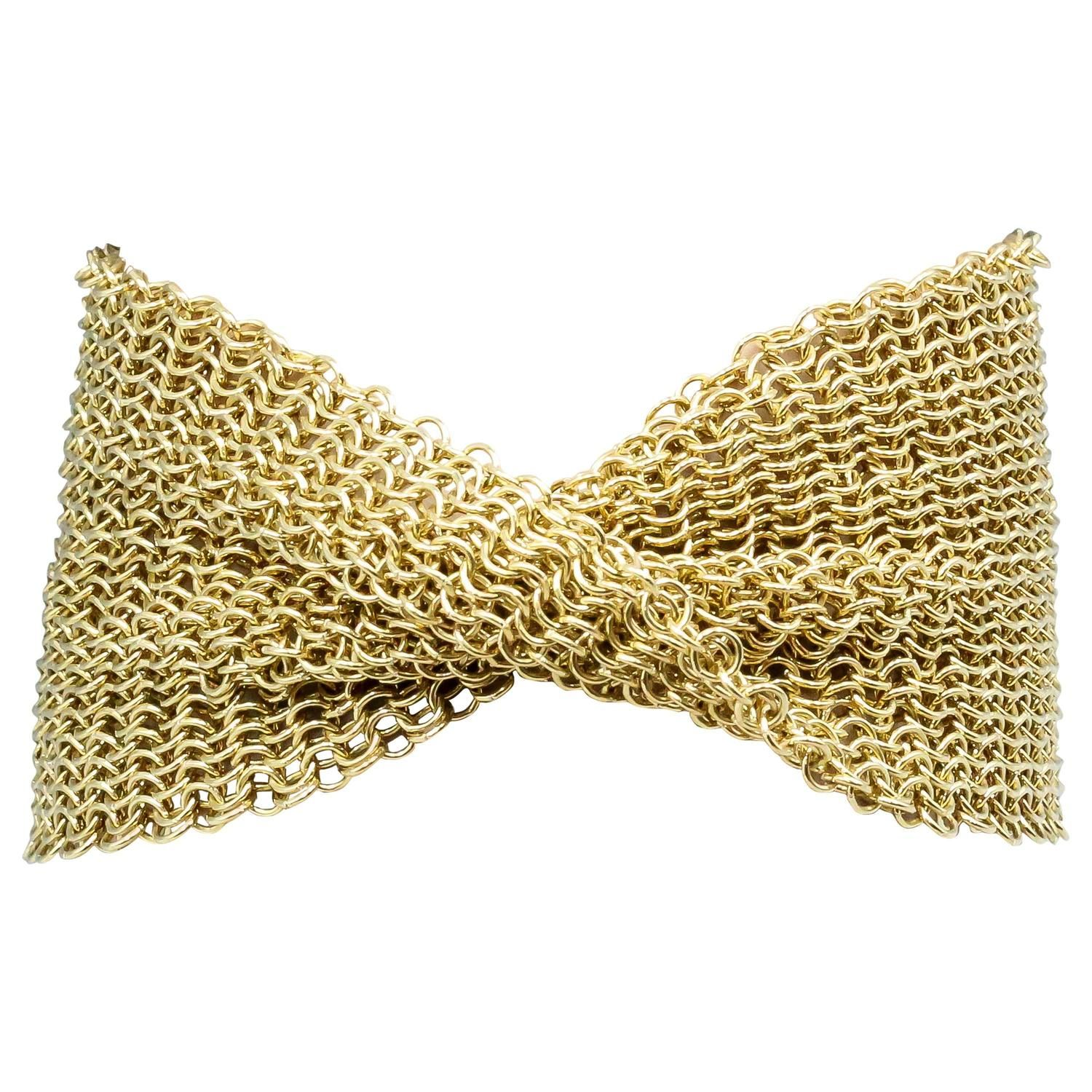Tiffany Co Elsa Peretti Gold Mesh Bracelet From A Unique Collection Of