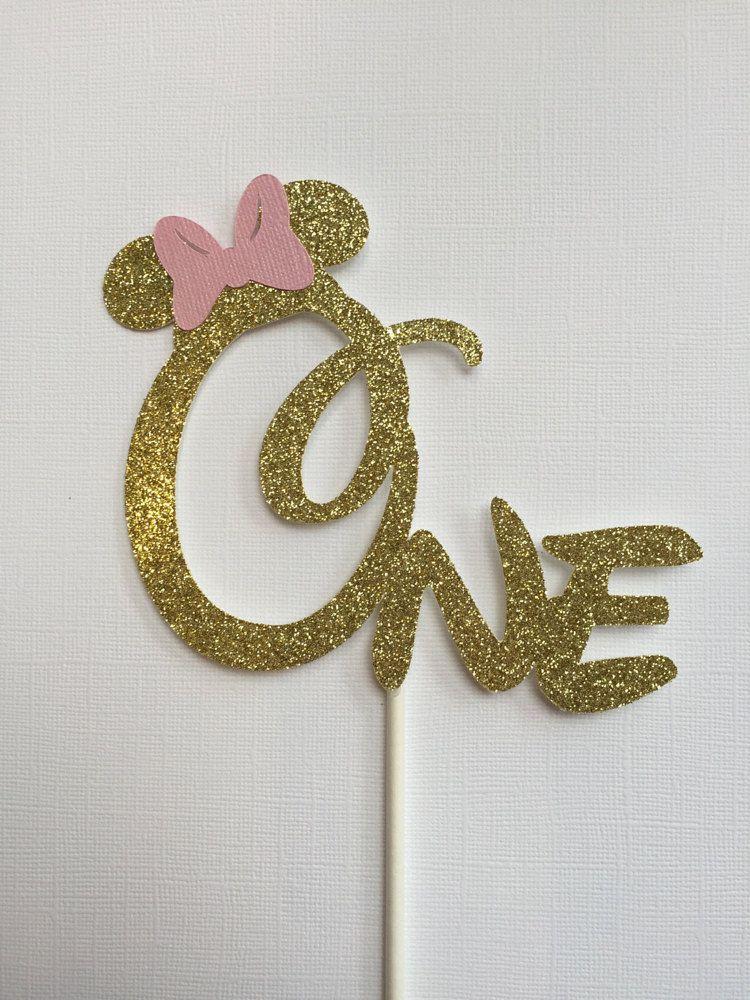Minnie Mouse Cake Topper Gold Pink Glitter Minnie Cake