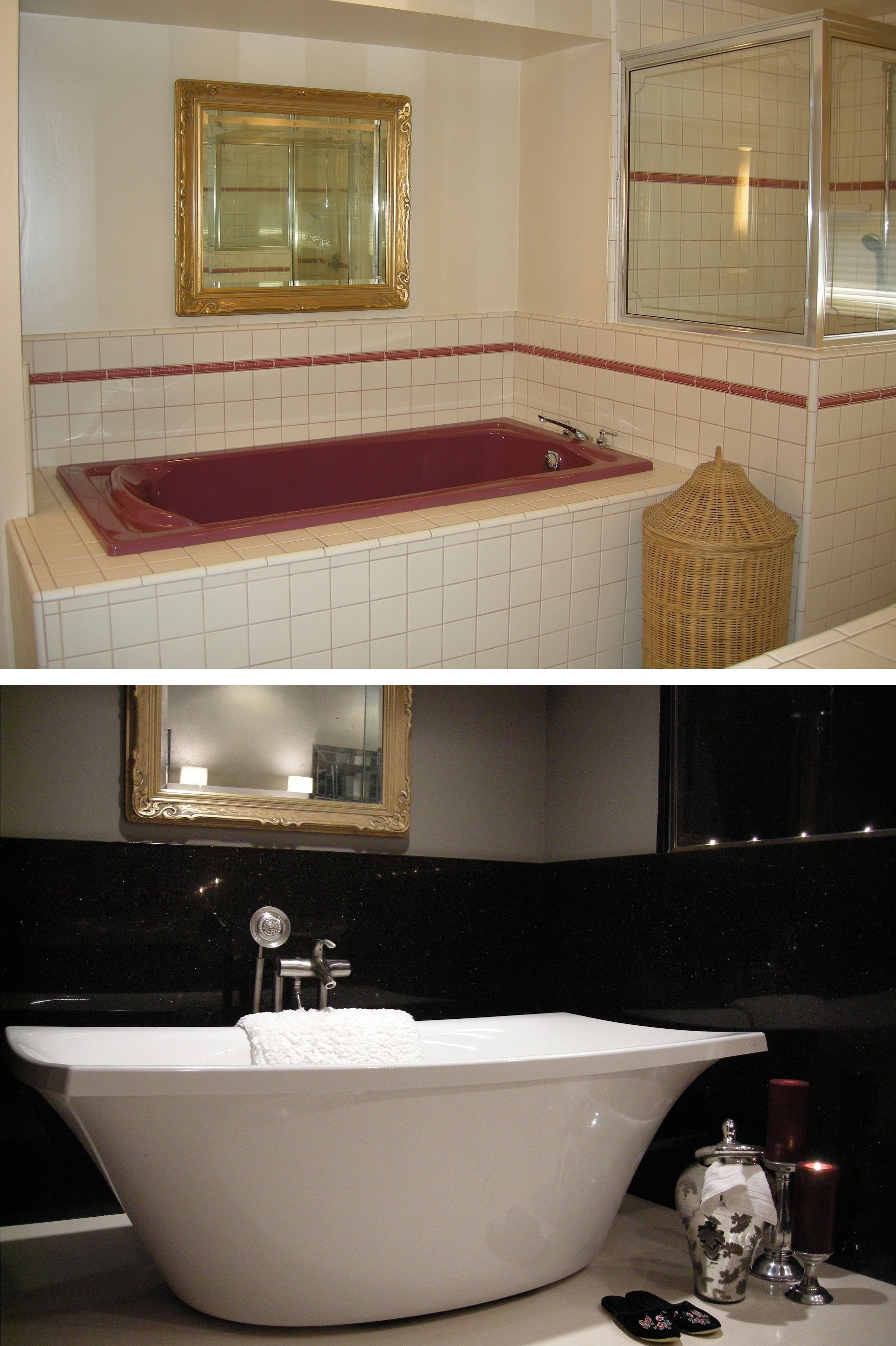 Bathroom Makeover Granite bathroom #bathtub #remodel before and aftergranite
