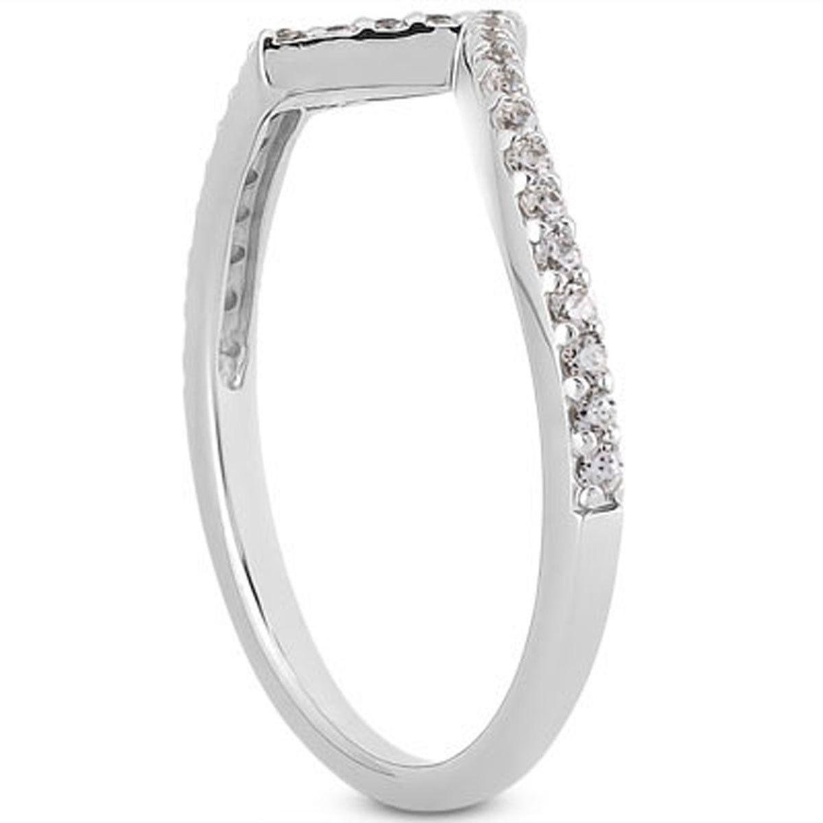 14K White Gold Fancy Zig Zag Pave Diamond Wedding Ring Band