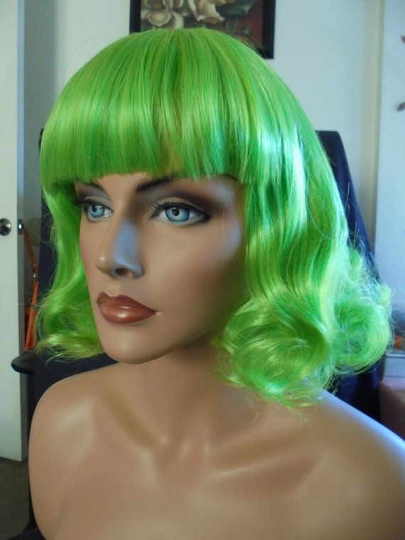 SPRING SALE  Green Wig  Ivy Green  Short Curly by GoingBizerklee