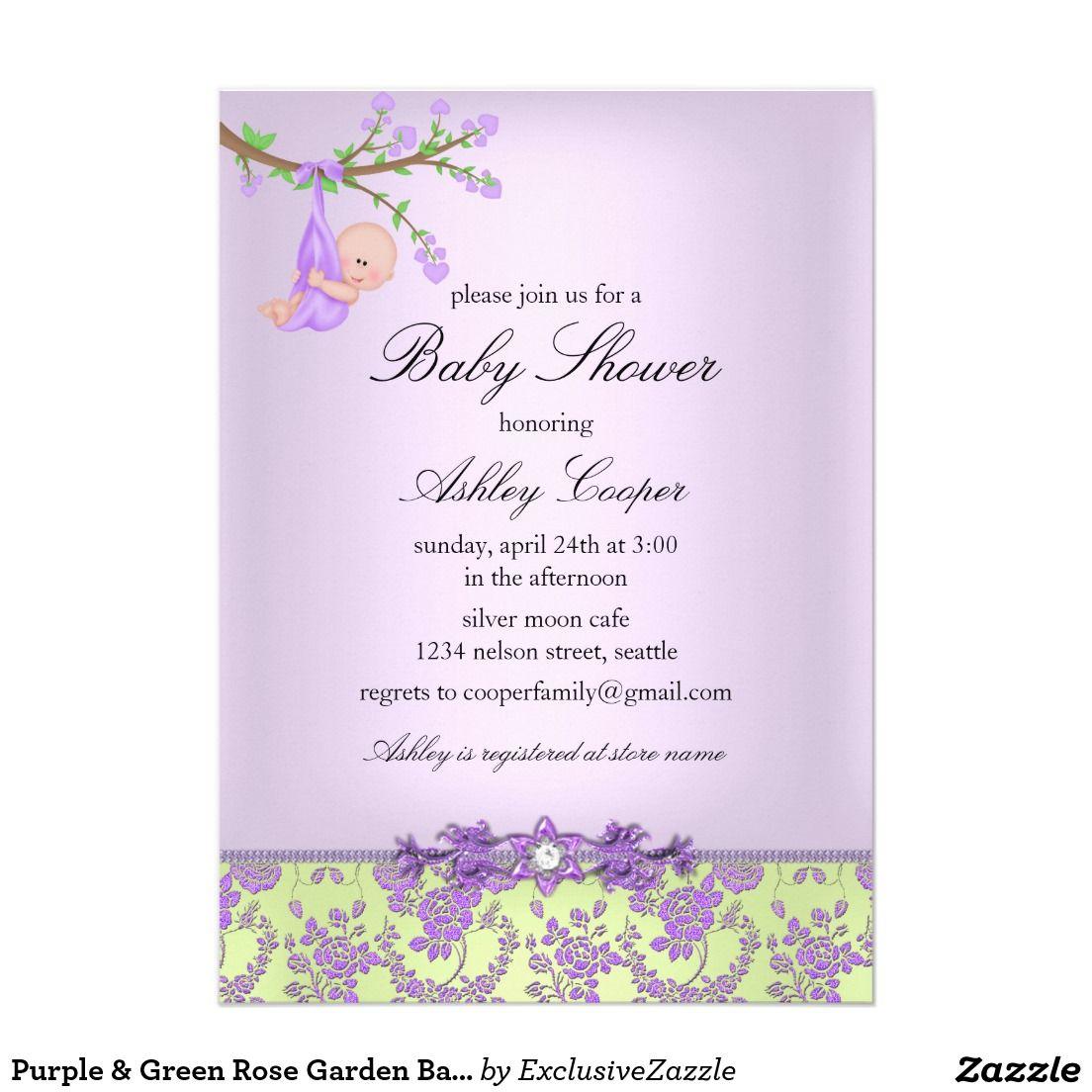 Purple green rose garden baby shower invitation baby shower purple green rose garden baby shower invitation filmwisefo