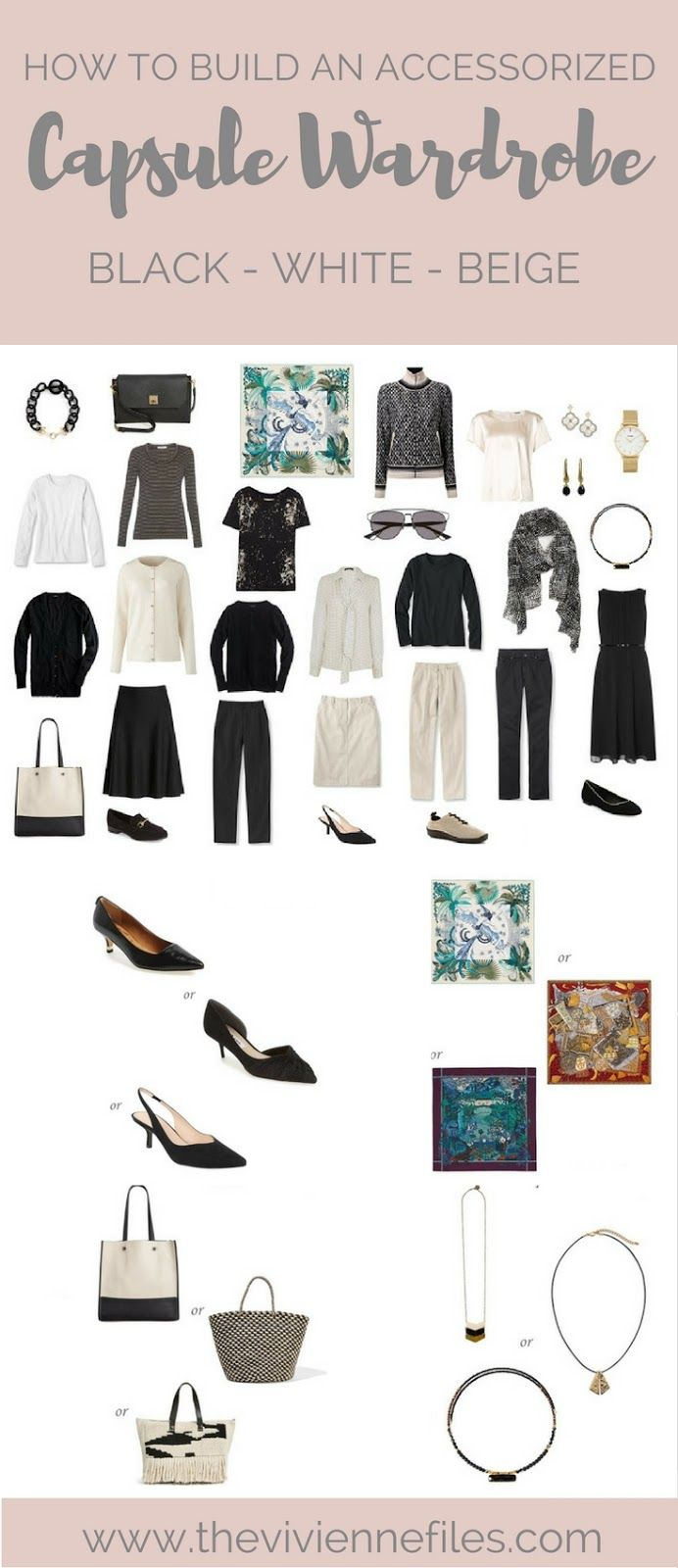 How To Add Accessories To A Capsule Wardrobe In A Black White And Beige Color Palette Travel Capsule Wardrobe Capsule Wardrobe Winter Capsule Wardrobe
