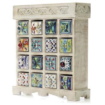 Whitewash Curio Cabinet W Handpainted Ceramic Drawers