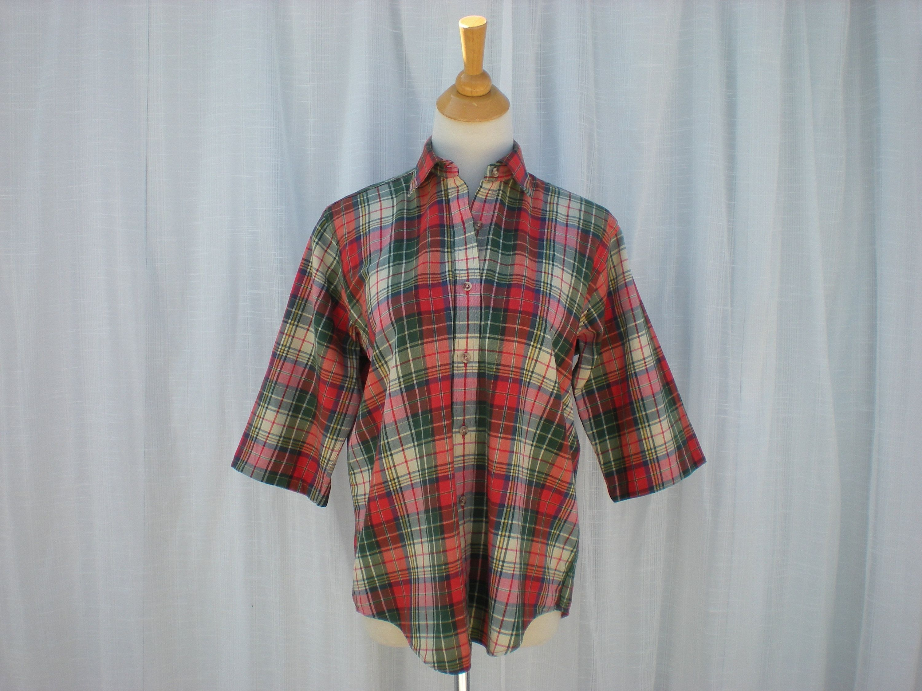 Vintage 80s 90s Viyella Tartan Plaid Cotton Wool Oversized Etsy Loose Fit Blouse Oversized Blouse Tartan Plaid