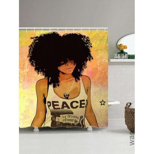 Hip Hop Afro Hair Girl Shower Curtain - COLORMIX 180*200CM, Hop Afro Hair Girl Shower Curtain - COL