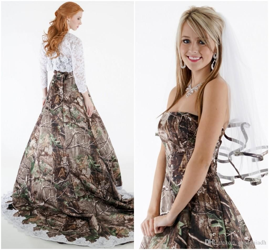 2015 Lace Camo Wedding Dresses Strapless with Hollow Lace Top Long ...