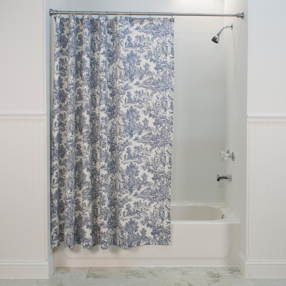 Ellis Curtain Victoria Park Toile 72 In L Blue Shower Curtain