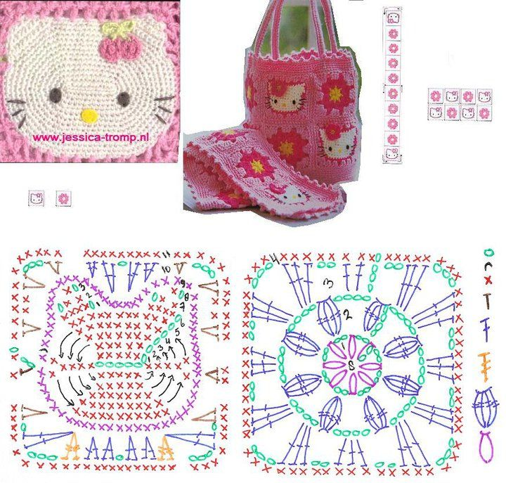 Hello Kitty Bag!!!! ---> I was looking for this diagram for a long time, finally I got it, and I am going to make it for my baby niece.
