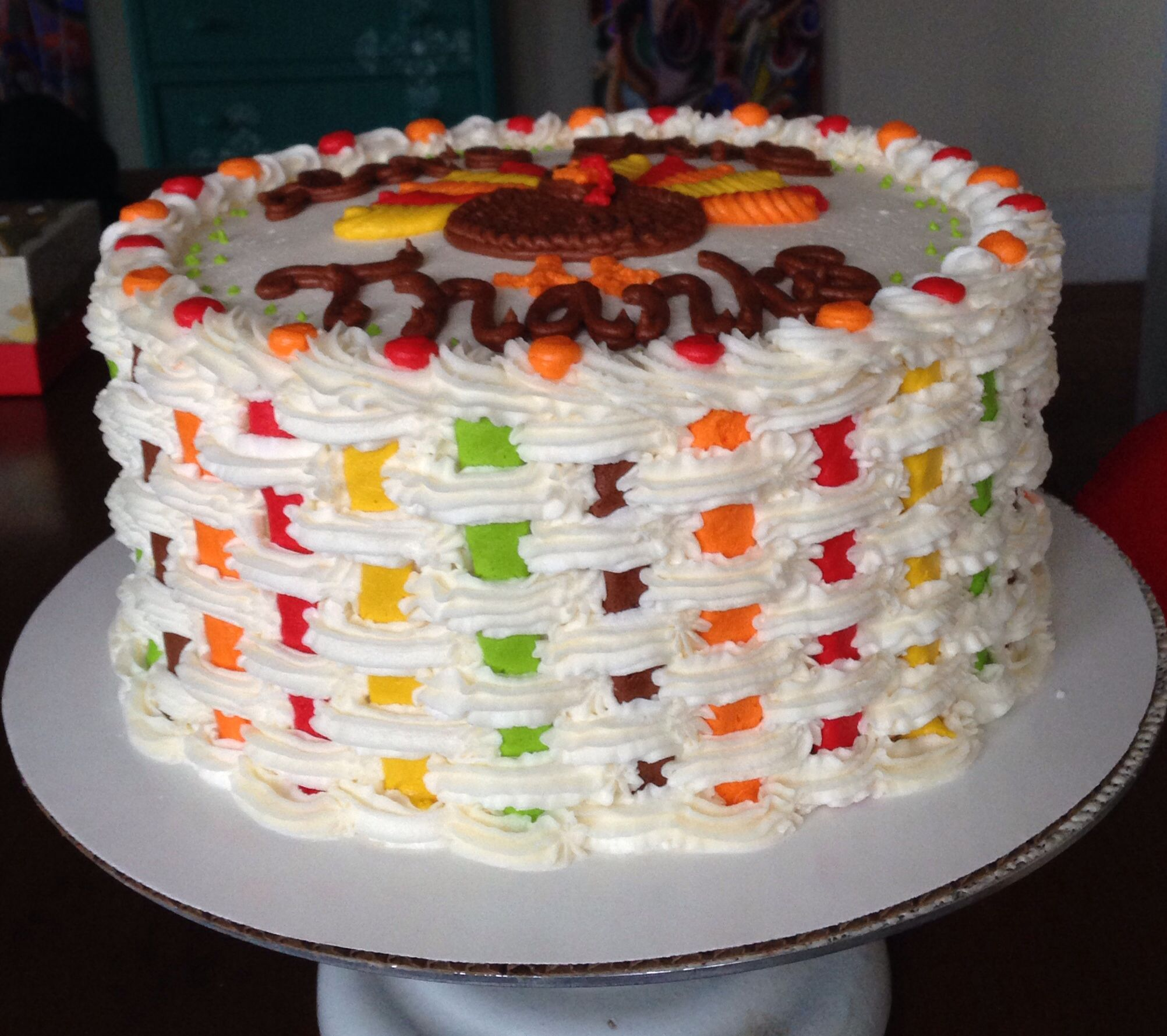 Basket Weave On Thanksgiving Cake Thanksgiving Cakes Cake Cake Decorating Tips