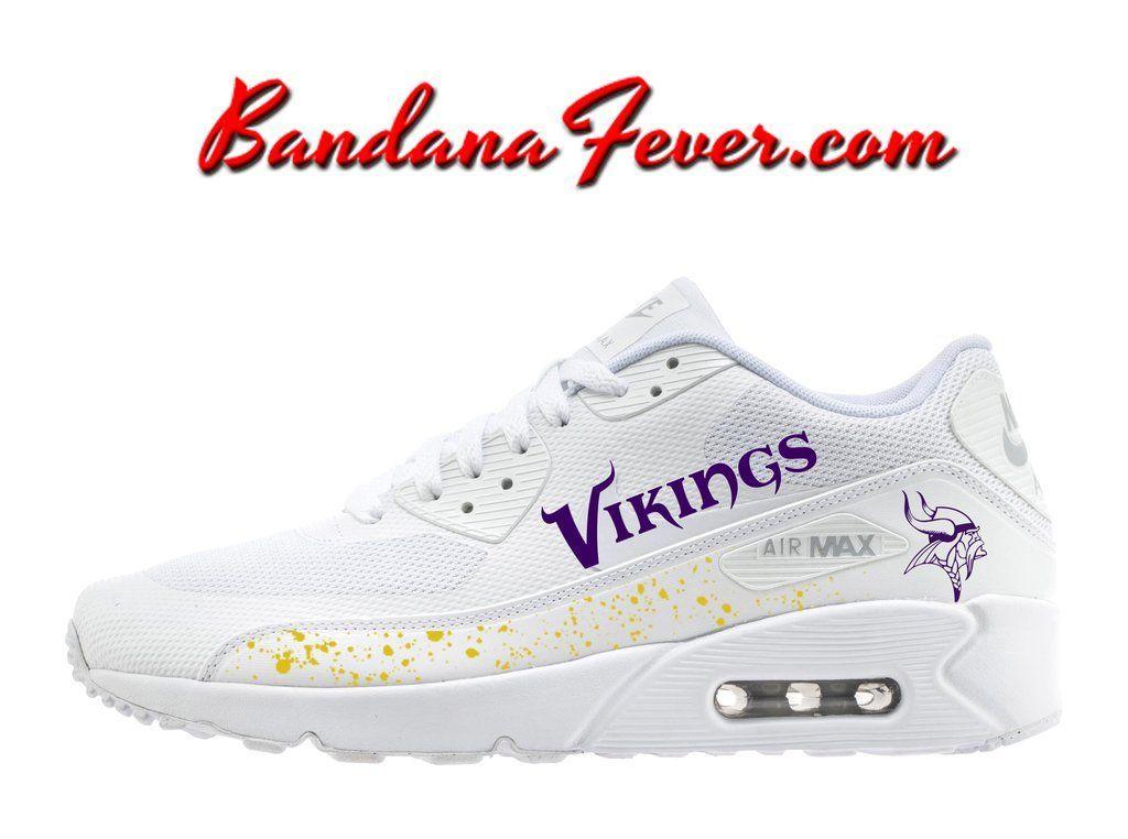 sports shoes 651f6 f0a2f Custom Vikings Nike Air Max 90 Shoes Ultra White,  vikings,  vikingsrising   airmax, by Bandana Fever