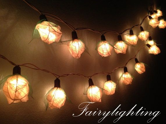 Decorative Indoor String Lights Adorable Fairy String Lights  35 White Color Rose Party Floral Home Decor Decorating Inspiration