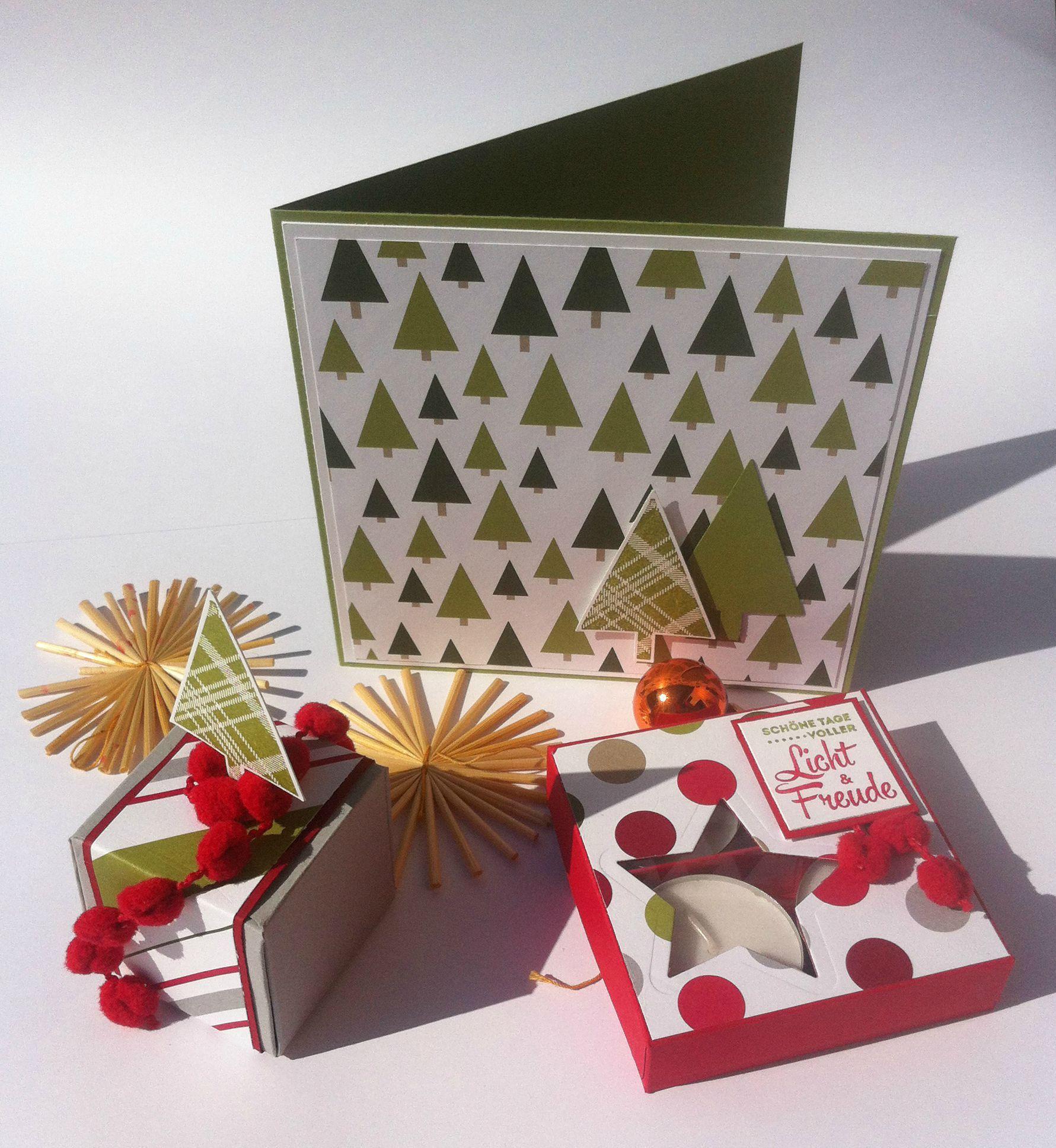 Selbst gemachte Geschenke und Karten sind zur Weihnachtszeit eine besondere Freude. Das Designerpapier Fröhliche Feiertage von Stampin' Up! sorgt mit seinen Mustern und Farben für die richtige Stimmung. #Weihnachten #Geschenk #Karte #Stampinup #DIY #Stempel