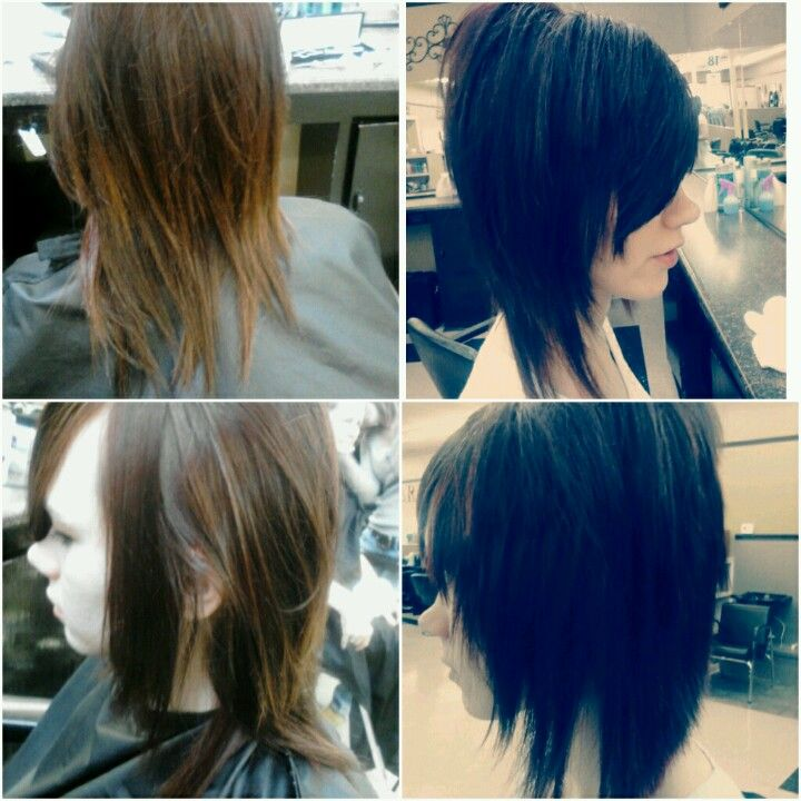 Before and after: Dramatic bob cut.