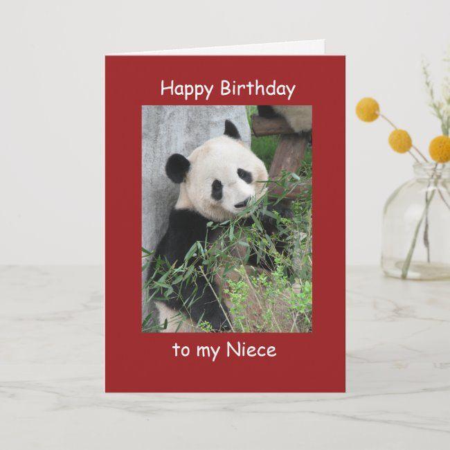 Happy Birthday Niece Greeting Card Giant Panda Card