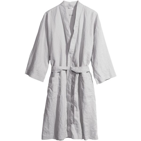 H M Linen dressing gown ( 32) ❤ liked on Polyvore featuring intimates ee2914305