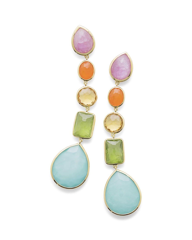 Ippolita 18K Rock Candy 5-Stone Linear Earrings in Rainbow X5qQ9l