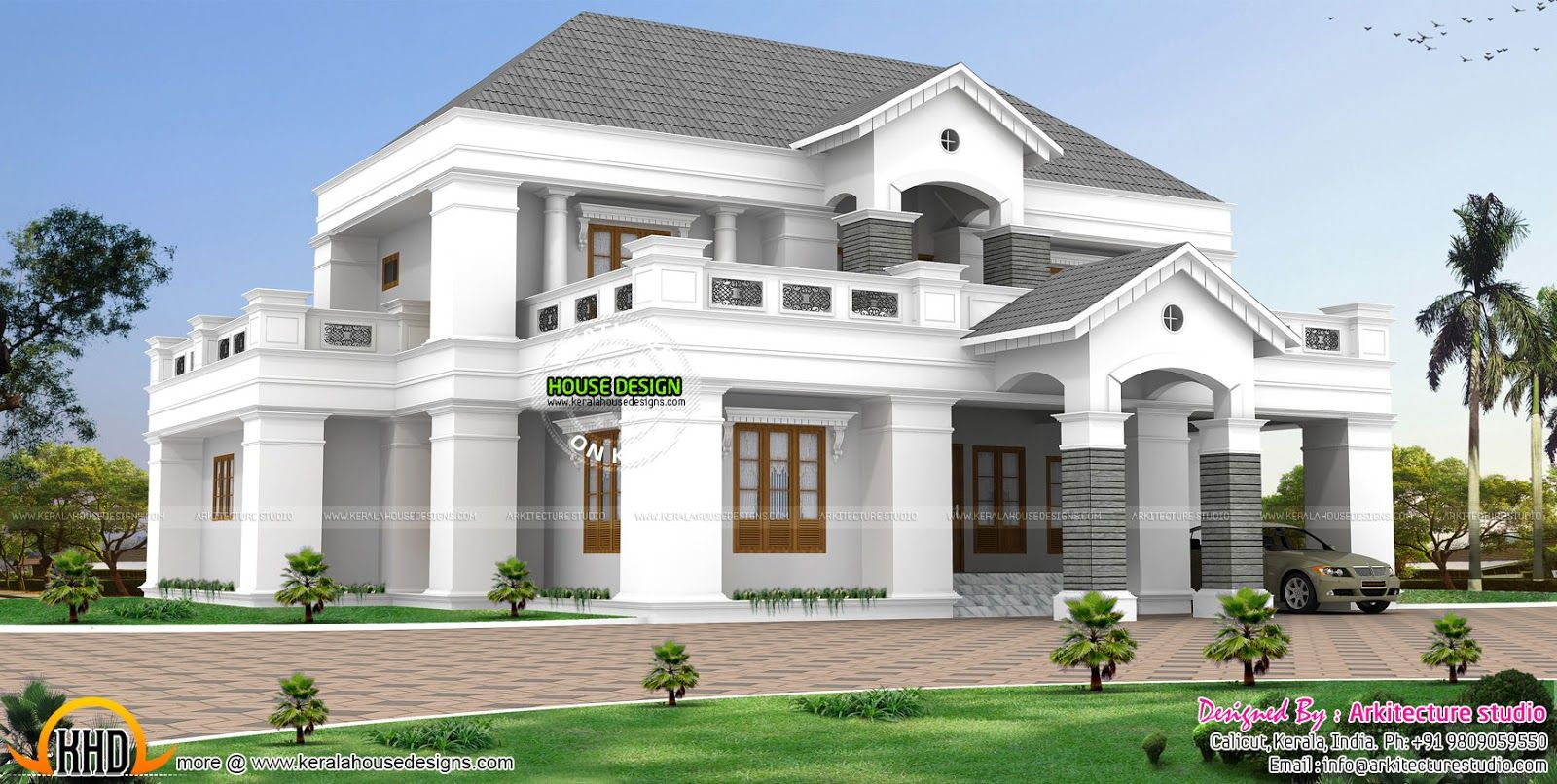 Luxurious pillar type home design kerala home design floor for Luxury houses plans