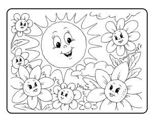 Spring Theme Coloring Pages For Kids Preschool And Kindergarten Unicorn Coloring Pages Summer Coloring Pages Sun Coloring Pages