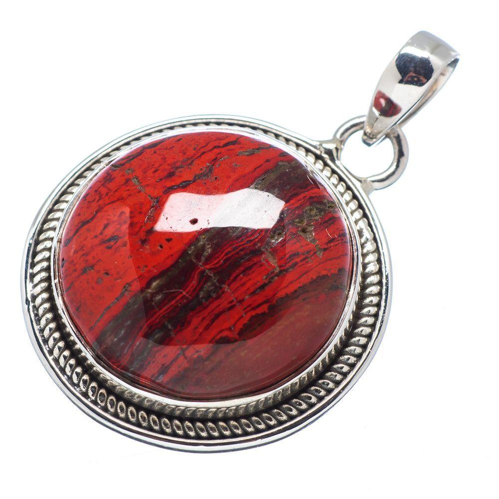 "Red Jasper 925 Sterling Silver Pendant 1 1/4"" PD513748"