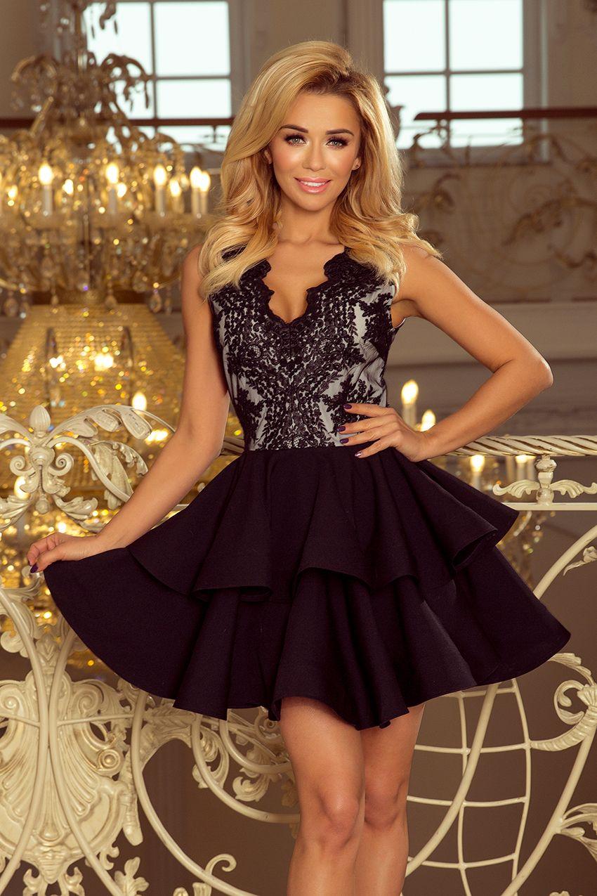 981ad91581 Czarna rozkloszowana ekskluzywna sukienka z bogato zdobionym dekoltem -  marka numoco