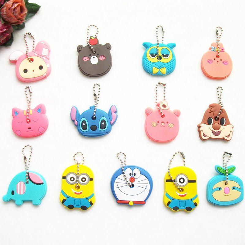 86299b11f6e8 Anime Cat Key Cap Silicone Minion Key Chain Women Bag Charm Key Holder  Stitch Key Ring Owl Keychain Mickey Hello Kitty Key Cover