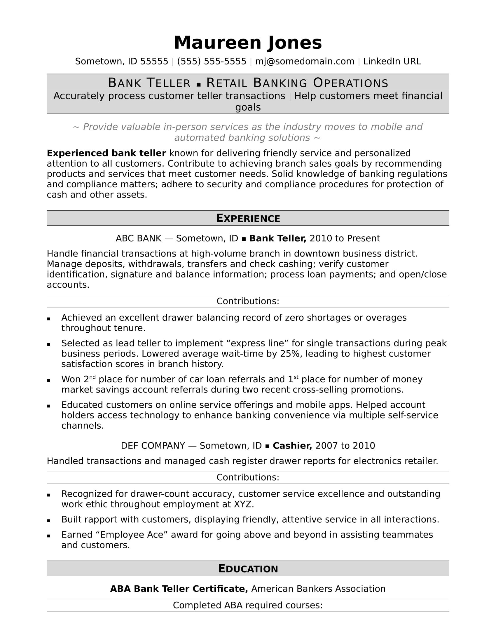 Bank teller resume sample - Bank teller resume, Bank teller, Job resume template, Resume examples, Job resume, Bank jobs - See how your resume can help launch your career in banking with this bank teller resume sample