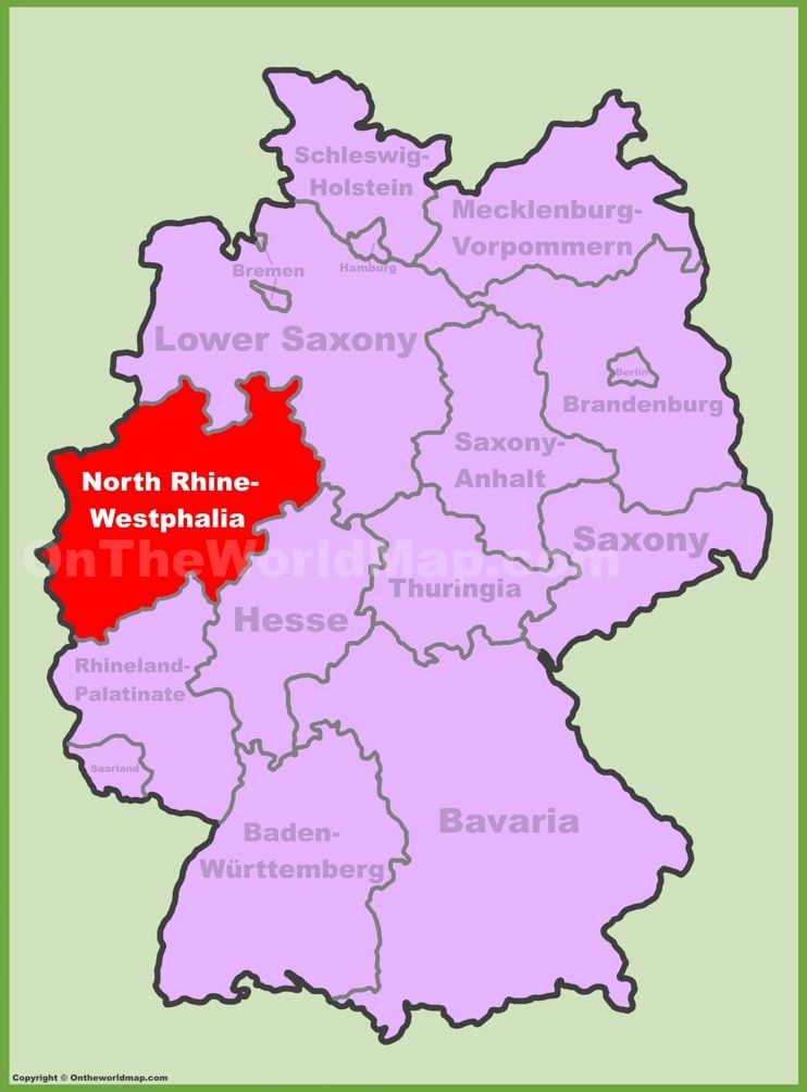 Northrhnorth Rhinewestphalia Location On The Germany Map Maps: Westphalia Germany Map At Infoasik.co