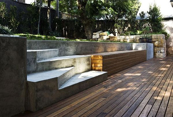 Best Concrete Steps Wooden Deck Combination Garden Bench 640 x 480