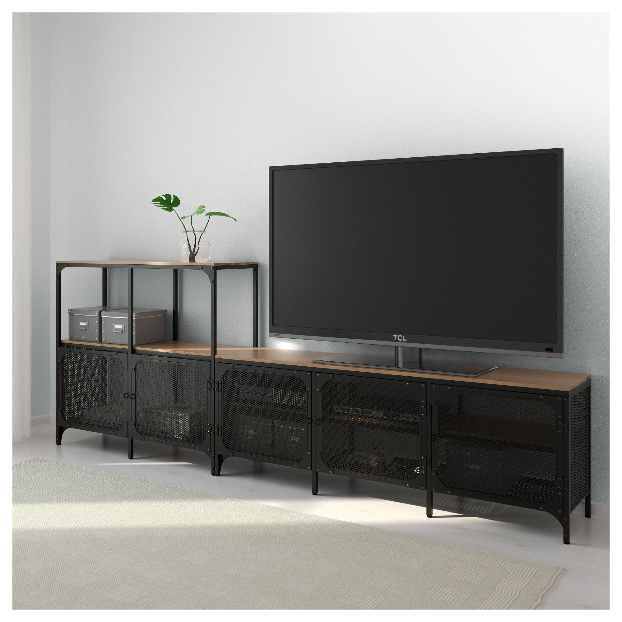 Ikea Tv Bank Schwarz Ikea Fjallbo Black Tv Storage Combination Home Bedroom