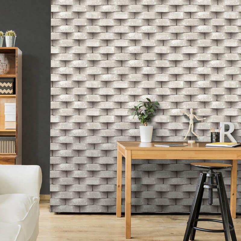 Muriva Diagon Brick 3d Effect Natural Wallpaper L57127 Contemporary Wallpaper Designs White Wallpaper Wood Effect Wallpaper