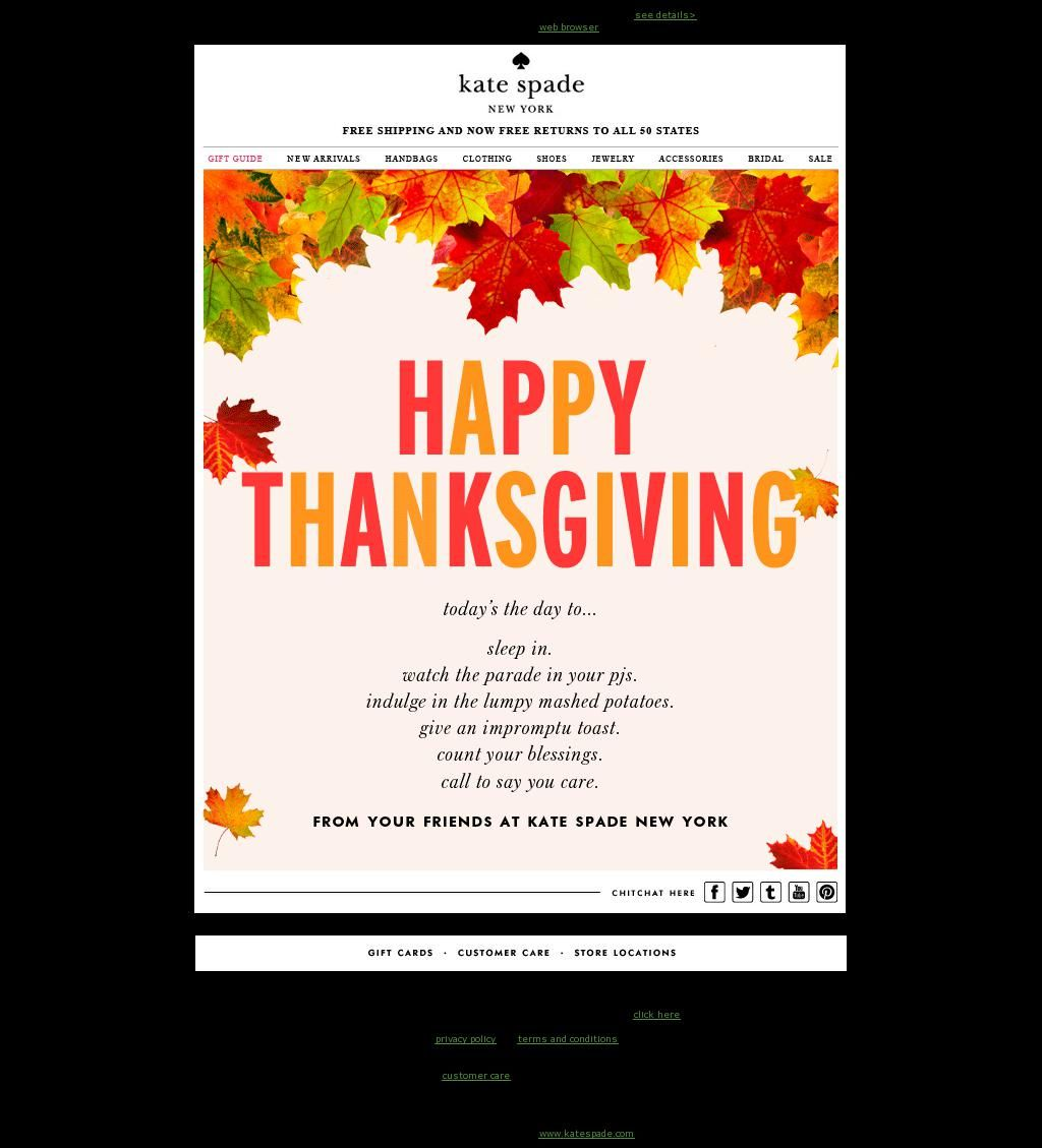 Kate spade email marketing thanksgiving card nov 2013 holiday kate spade email marketing thanksgiving card nov 2013 kristyandbryce Choice Image