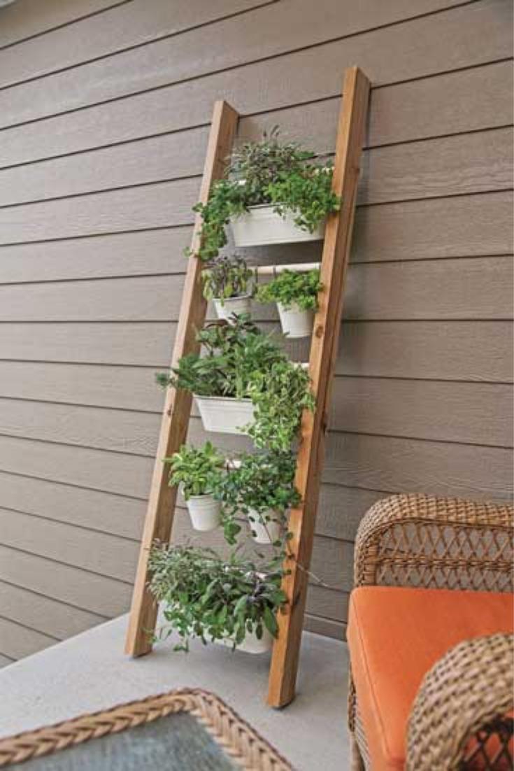 Antique Ladder Hanging Planter Vertical garden diy