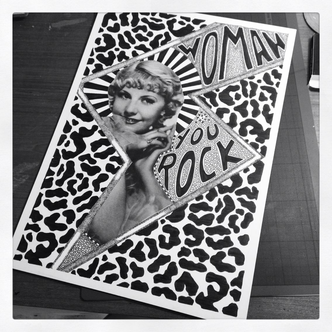 Woman you rock! By GIRL SHIT collage pen n ink