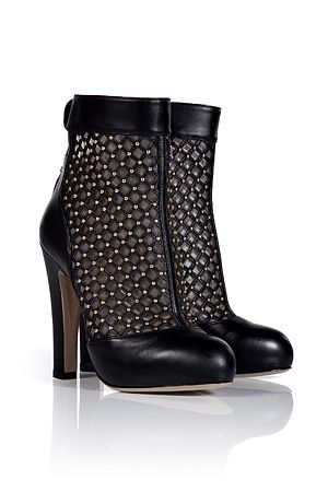 VALENTINO  Black Studded Ankle Boots